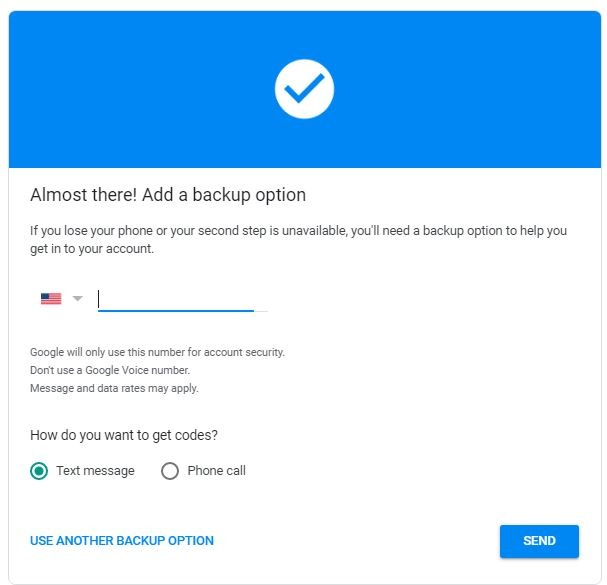 Android Security Key Use Another Backup Option