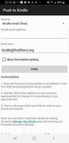 Android Web To Kindle Push To Kindle Email
