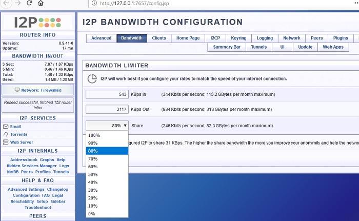 Bandwidth Configuration I2p