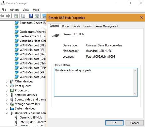 Device Manager Check Status Usb Hub