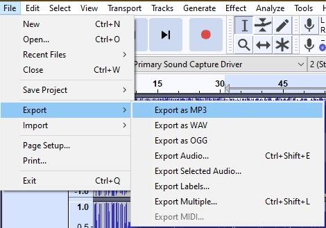 Export File Audacity