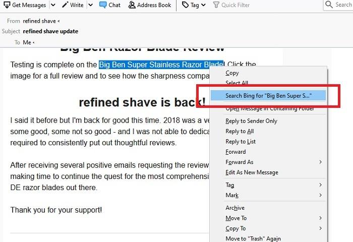 Thunderbird Default Search Bing