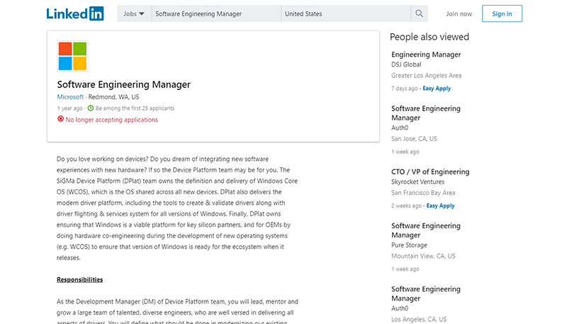 Windows Core Os Linkedin Job Specification