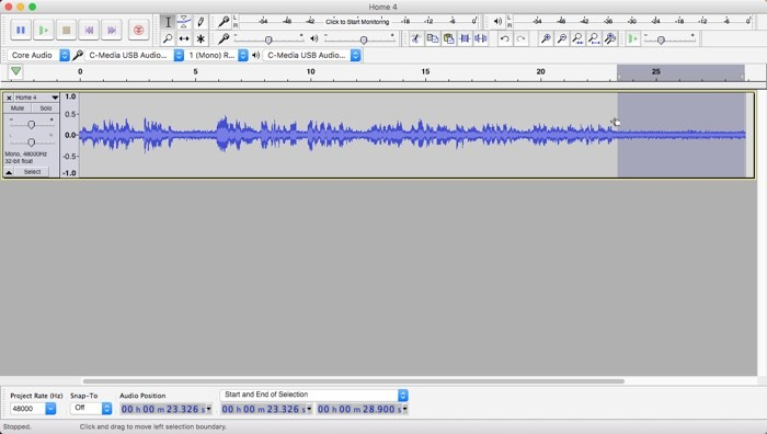 Audacity Noise Removal Noise Selection