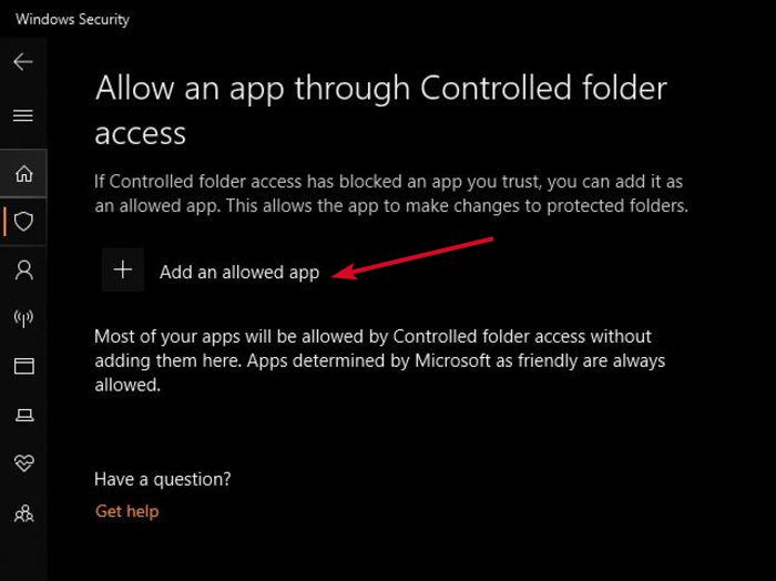 Enable Ransomware Protection Windows Defender Controlled Folder Access Allow App Through Add App