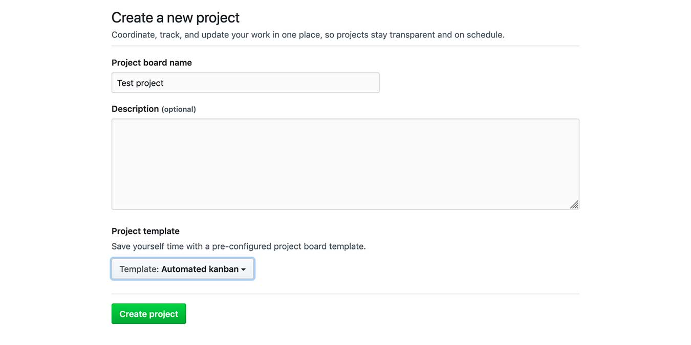 Get Started Github Projects New Project