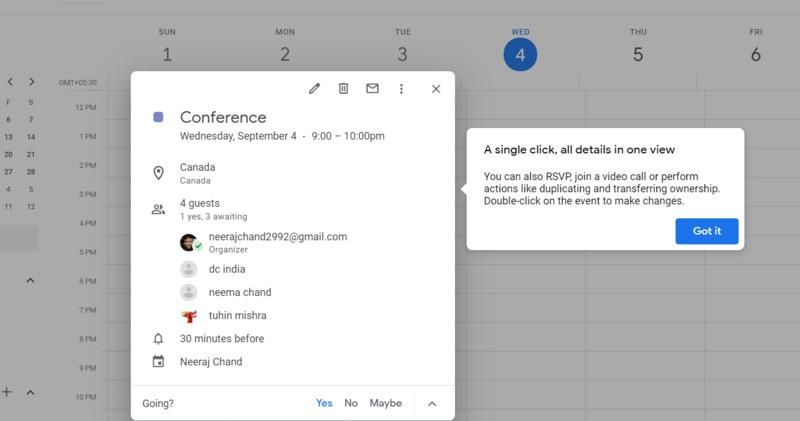 Google Calendar Event Options