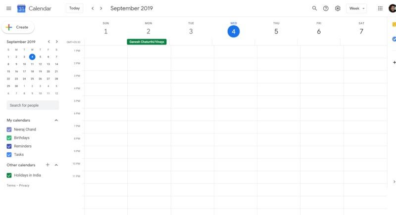 Google Calendar Main Page