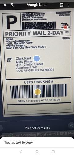 Google Lens Package Tracker