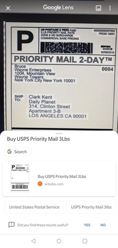 Google Lens Package Tracking