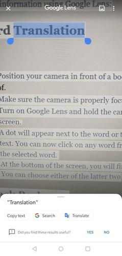 Google Lens Word Translation