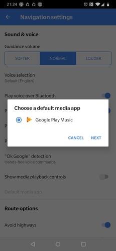 Google Maps Play Music Settings