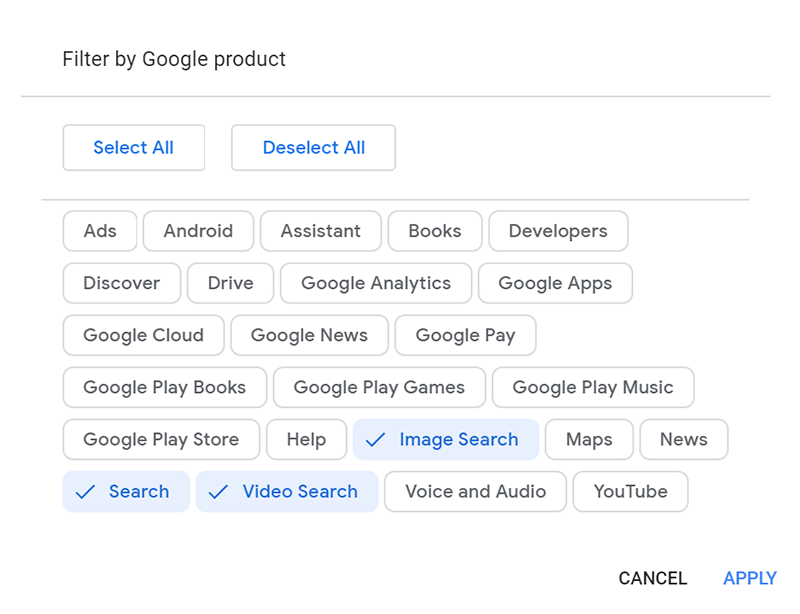 Google Personal Data Search 1 Filters