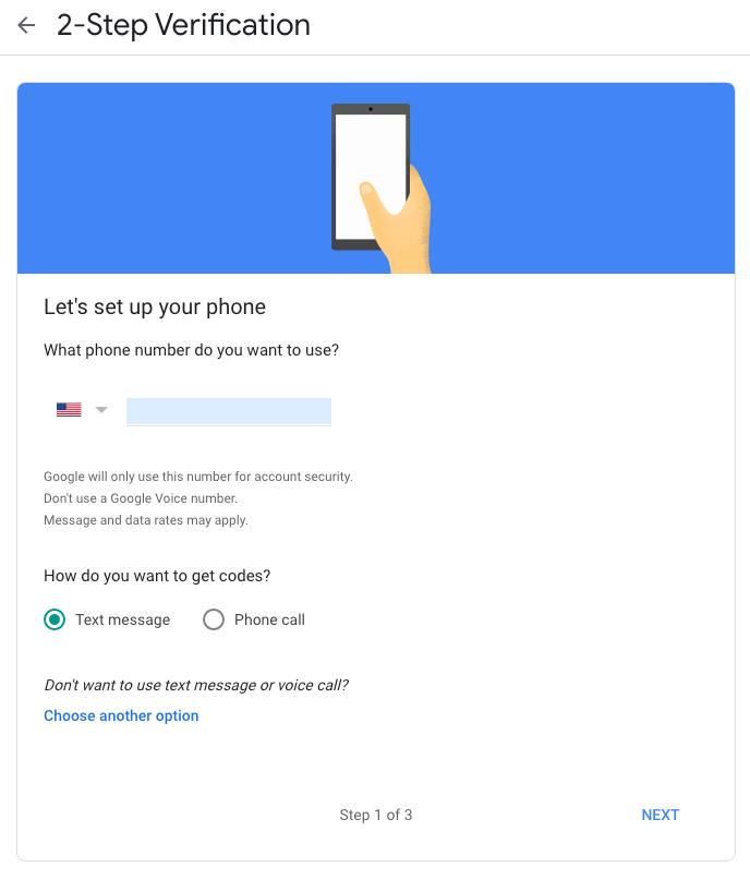 Google Privacy Settings 2fa Enter Phone