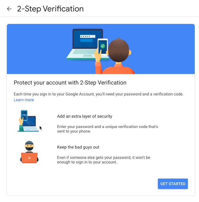 Google Privacy Settings 2fa Start