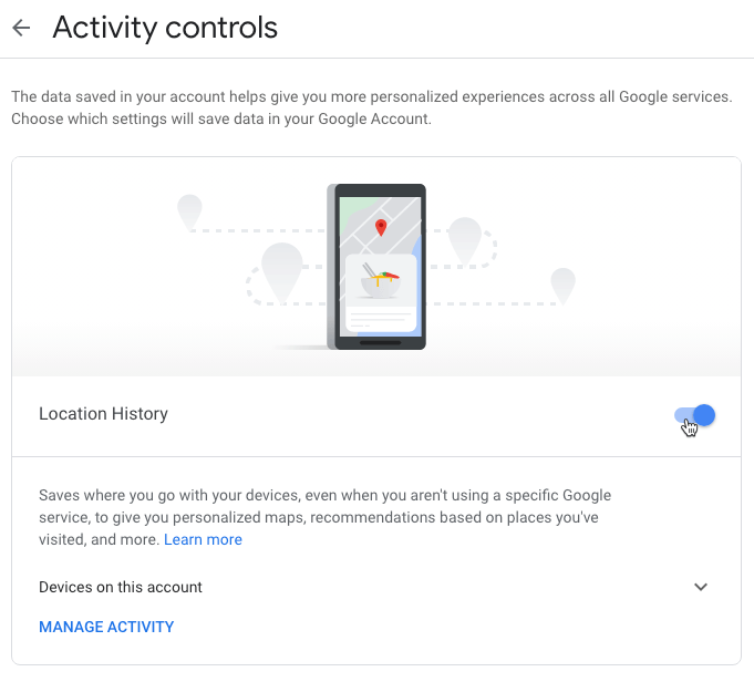 Google Privacy Settings Location History Toggle