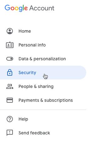 Google Privacy Settings Security Menu
