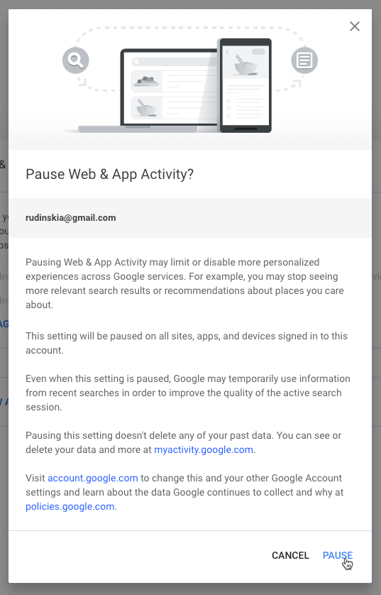 Google Privacy Settings Web App Activity Toggle Confirm
