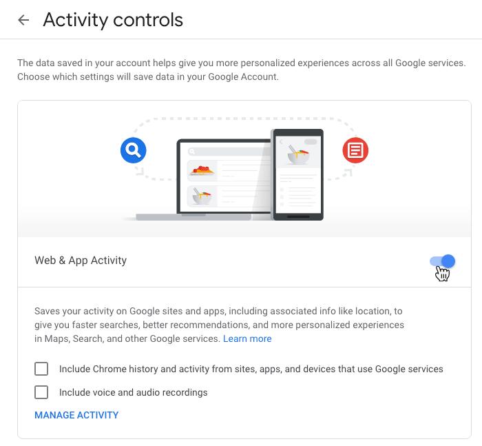 Google Privacy Settings Web App Activity Toggle