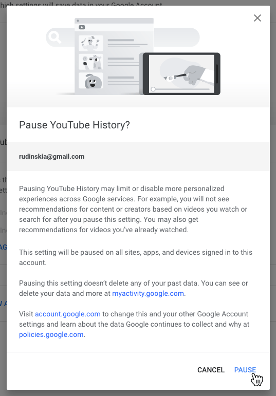 Google Privacy Settings Youtube History Confirm