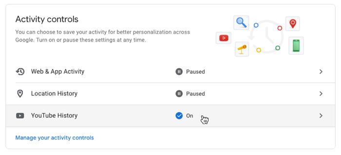 Google Privacy Settings Youtube History Menu