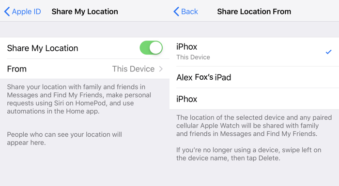 Location Sharing Ios Device Location Selection