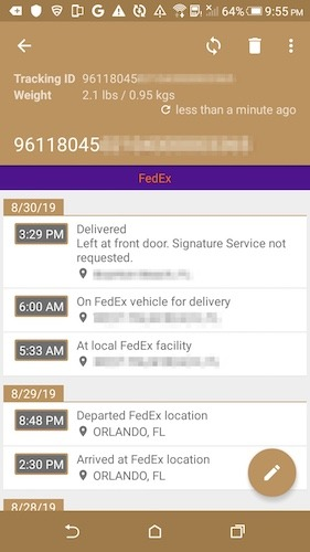 Tracking Package Delivery Smartphone Deliveries Android