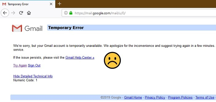 Gmail Account Temporarily Unavailable