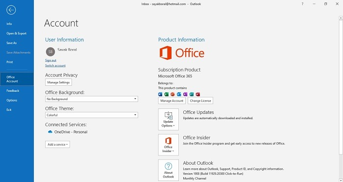 Managing Office 365 From Outlook