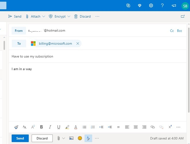Outlook Email Compose