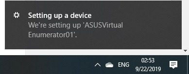 Setting Up Device Asus Smart Display Right System Tray