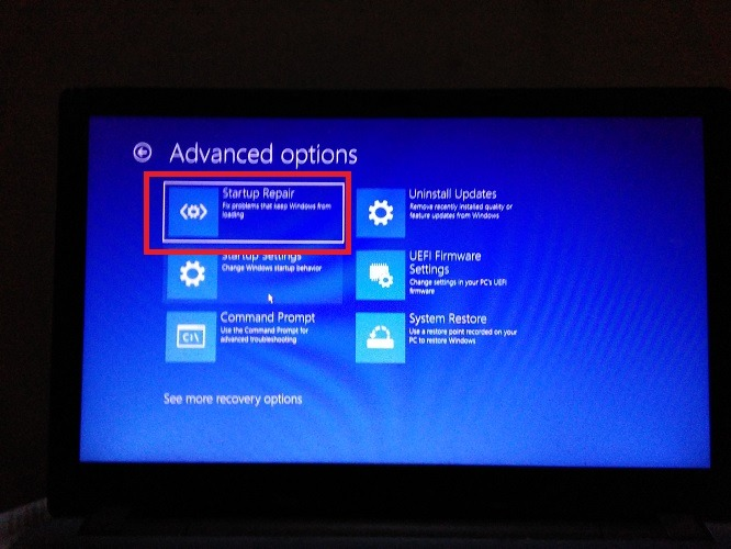 Startup Repair Advanced Startup Options Windows10