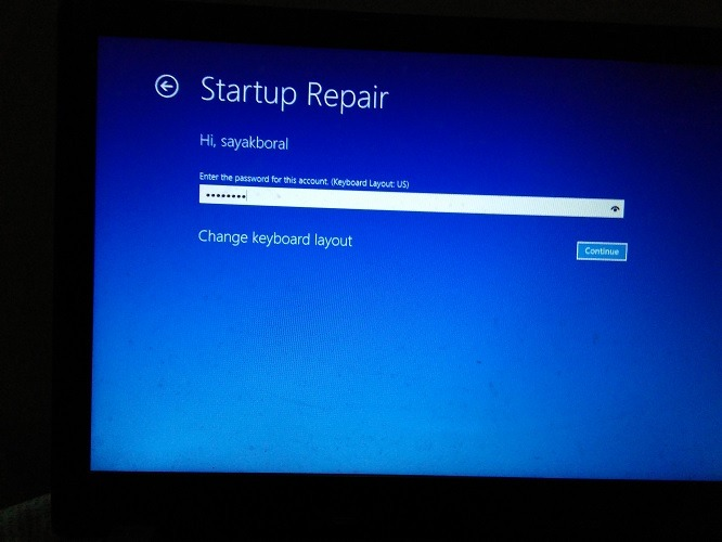 Startup Repair Enter Password