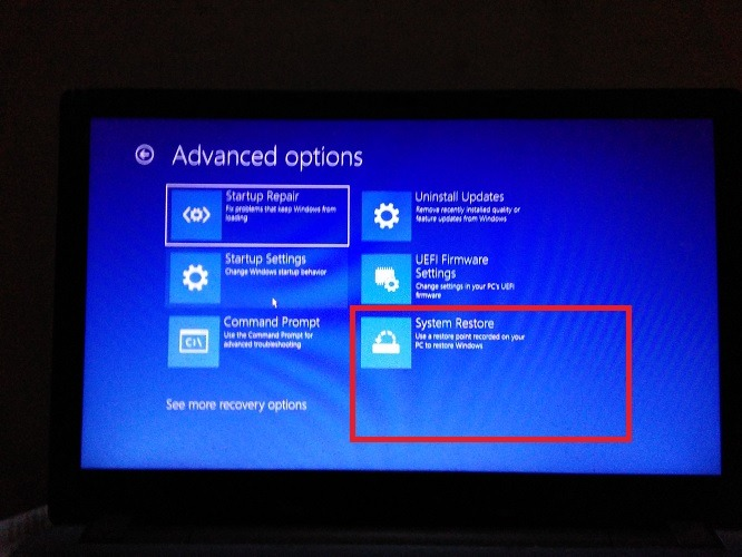 System Restore Advanced Startup Options