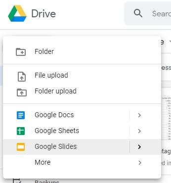 Chart Google Slides Choose Slides Option