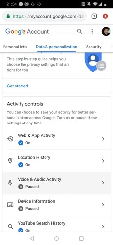 Chrome Web Activity Controls