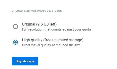 Clean Google Storage Photos Upload Size