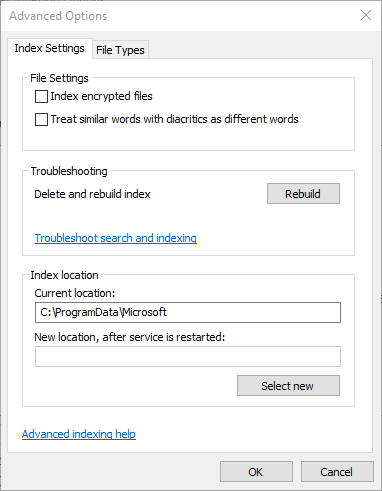 Fix Windows Search Not Working Rebuild Index