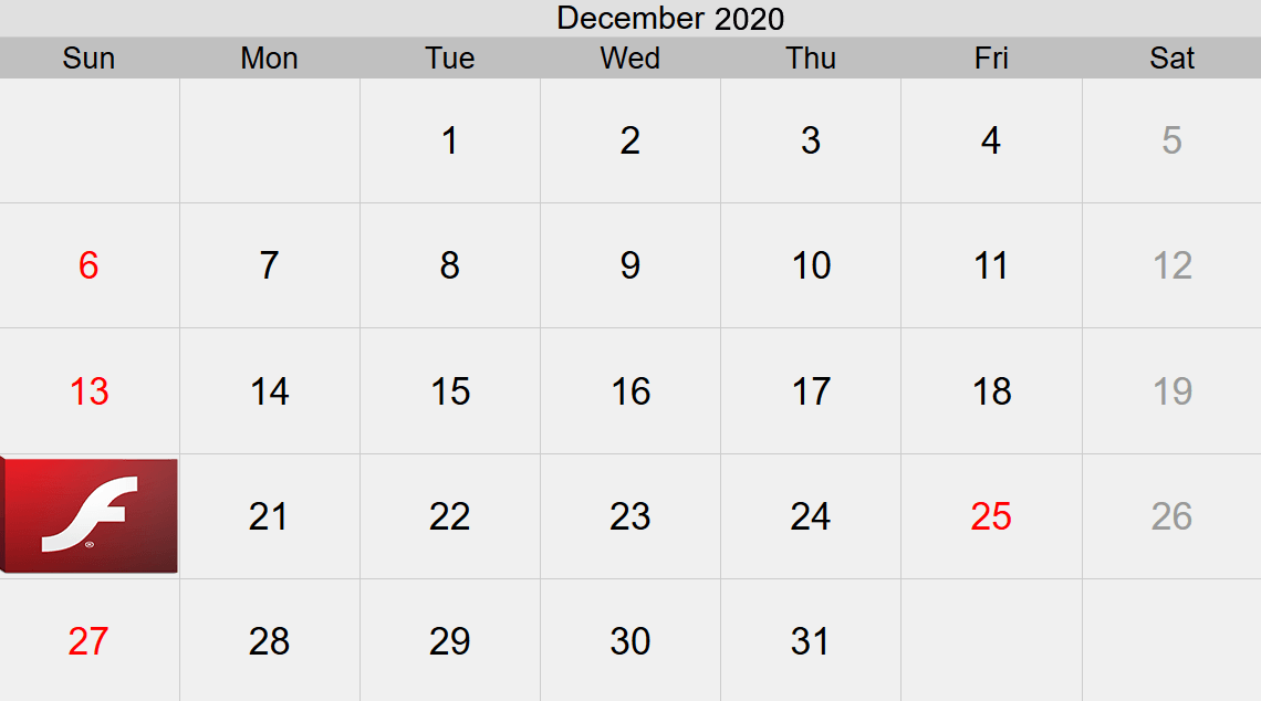 Flash 2020 Calendar