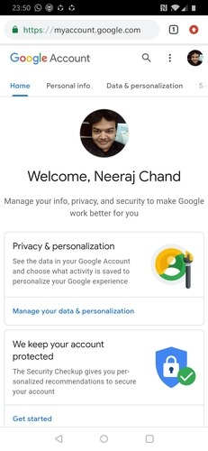 Google Account Profile Page