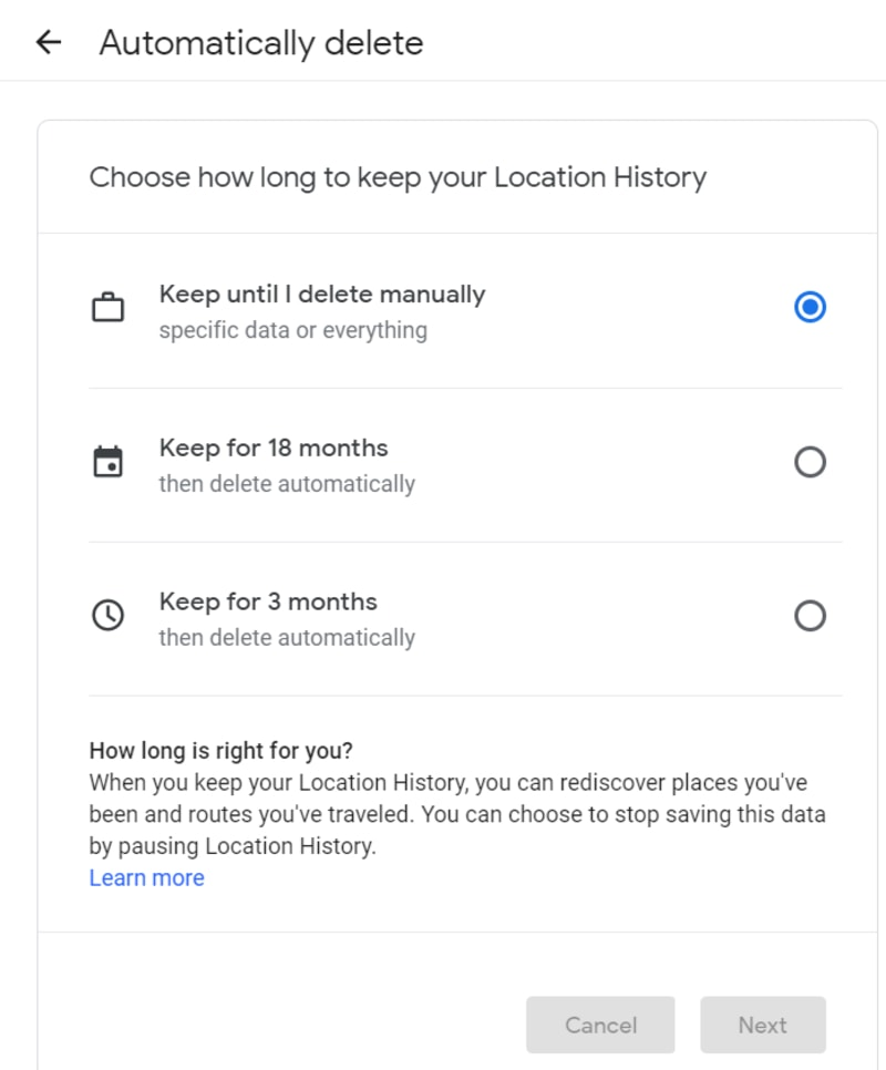Google Maps Automatically History Delete Time Frame Options