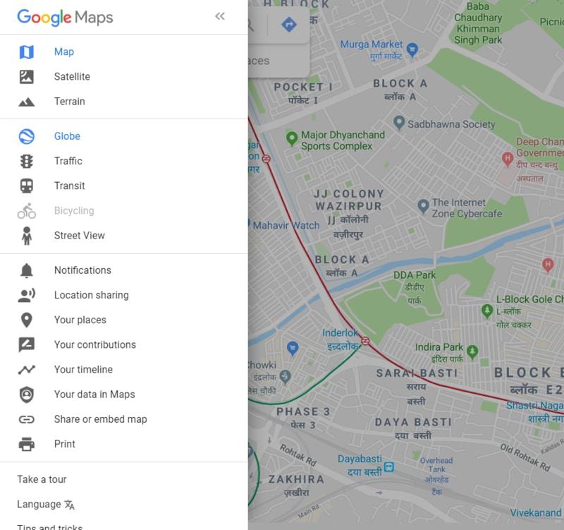 Google Maps Menu List