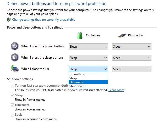 Hibernate Power Option Close The Lid Options