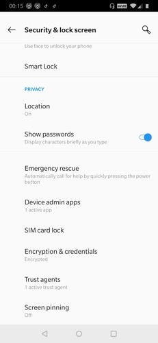 Location Settings Security And Lock Screen