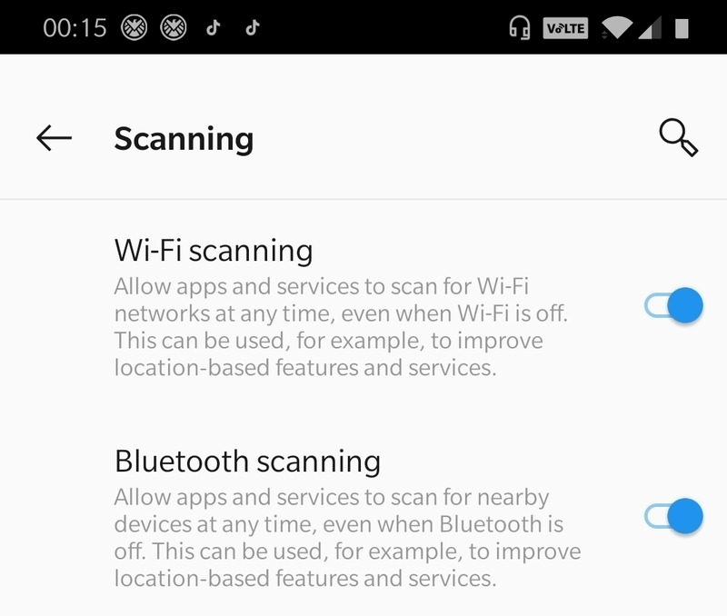Location Settings Turn On Wif And Bluetooth Scanning