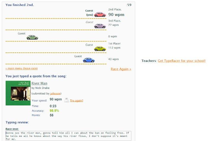 Words Per Minute Speed Typing Test Typeracer