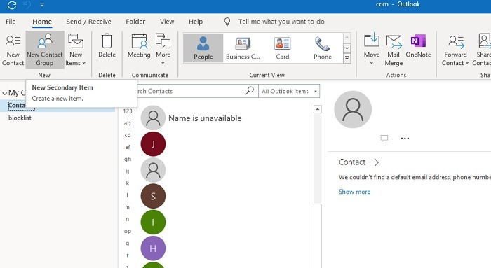 Adding New Contact Group Outlook