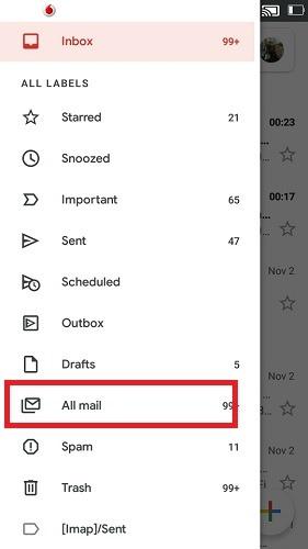 كل بريد Gmail للجوال