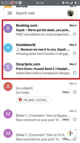 أبرز رسائل البريد الإلكتروني المؤرشفة Gmail Mobile