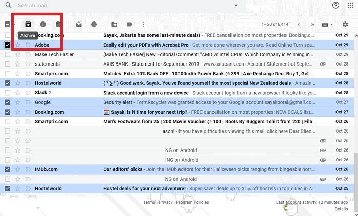 أرشفة البريد الإلكتروني Gmail Webmail